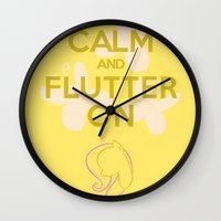 mlp Wall Clocks featuring Keep Calm and Flutter On (MLP FIM) by Michael Golding
