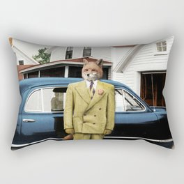 Mr. Fox posing with his new car Rectangular Pillow