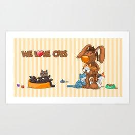 Rabbit catlover Art Print
