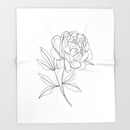 Botanical illustration line drawing - Peony Throw Blanket