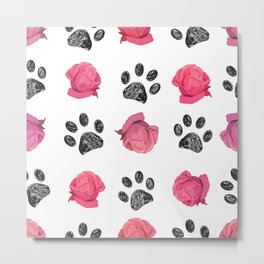 Doodle black paw prints and hand drawn beautiful pink roses pattern Metal Print