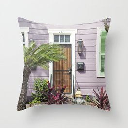 New Orleans Marigny Purple House Throw Pillow