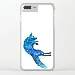 Space Fox   Fox Constellation   Leaping Fox   Double Exposure Fox Clear iPhone Case