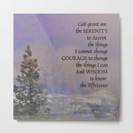 Serenity Prayer Trees Hills Snow Metal Print
