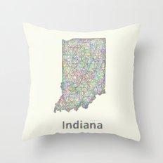 Indiana map Throw Pillow
