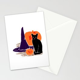 Witch Cat Pumpkin Woodcut Halloween Design Stationery Cards