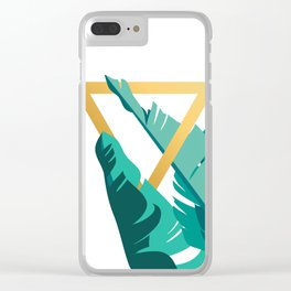 Tropical leafs with golden triangle Clear iPhone Case