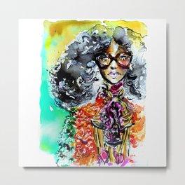 Retro colorful fashion illustration Metal Print