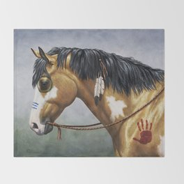 Native American Buckskin Pinto War Horse Throw Blanket