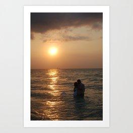 Lovers Kiss at Sunrise Art Print