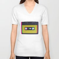 cassette V-neck T-shirts featuring Cassette by Michal