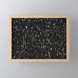 Black and white shiny glitter sparkles Framed Mini Art Print