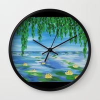 monet Wall Clocks featuring monet scene by Cathy Jacobs