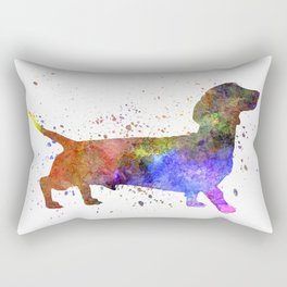 Short Haired Dachshund 01 in watercolor Rectangular Pillow