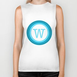blue letter W Biker Tank
