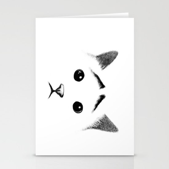 Cat with eyebrows Stationery Cards