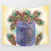feathers Wall Tapestries featuring Feathers by famenxt