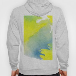 Modern hand painted yellow green blue watercolor brushstrokes Hoody