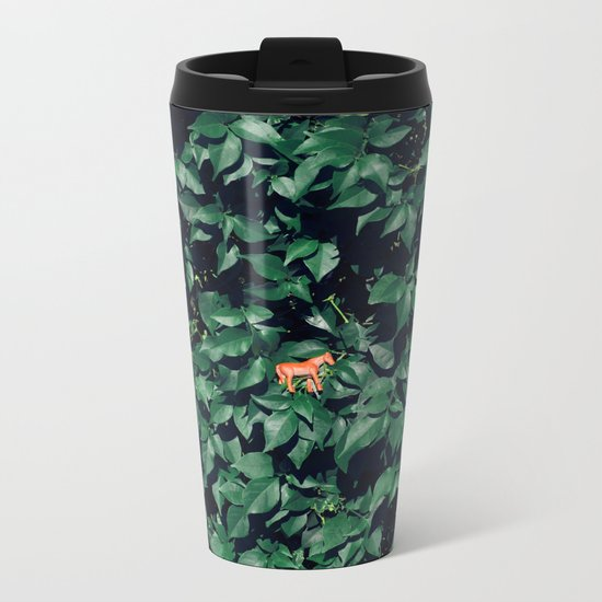 Orange horse in the bush Metal Travel Mug