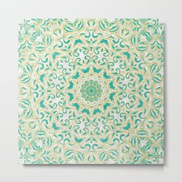 Floral Pattern Gold and Emerald Green Metal Print