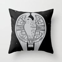 millenium falcon Throw Pillows featuring The REAL Millenium Falcon by Scott Neilson