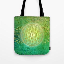 Flower Of Life Vintage gold green Tote Bag
