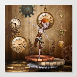 Cute little steampunk girl with clocks and gears Canvas Print