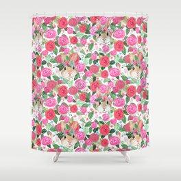 spring floral bunny hiding Shower Curtain