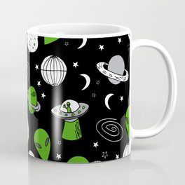 Alien outer space cute aliens french fries rad sodas pattern print black Coffee Mug