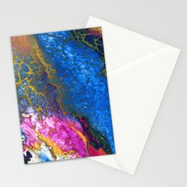 Yellow and Blue Galaxy Pour Stationery Cards