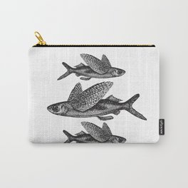 Flying Fish | Black and White Carry-All Pouch