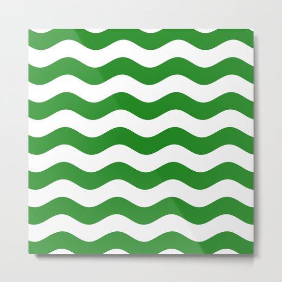 Wavy Stripes (Forest Green/White) Metal Print