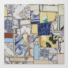 Broken ceramic tiles patchwork Canvas Print
