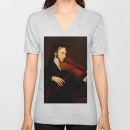 Niccolò Paganini by Daniel Maclise (1831) Unisex V-Neck