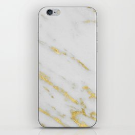 Marble - Shimmery Gold Marble on White Pattern iPhone Skin