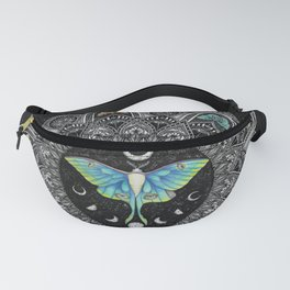 Lunar Moth Mandala with Background Fanny Pack