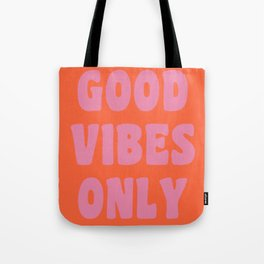 Retro Good Vibes Only Lettering in Pink and Orange Tote Bag