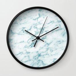Ribbons of Aqua and White Marble Wall Clock