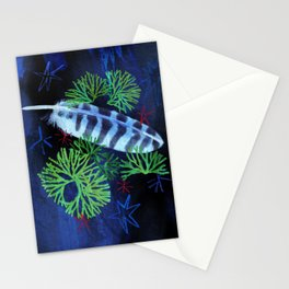 Winter Clubmoss and Feather Stationery Cards