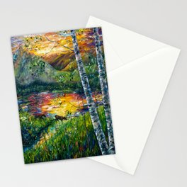 Sleeping Meadow - Colorado Moose Crossing by OLena Art Stationery Cards