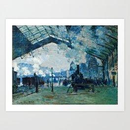 Claude Monet - Arrival Of The Normandy Train, Gare Saint Lazare Art Print