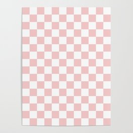 Gingham Pink Blush Rose Quartz Checked Pattern Poster