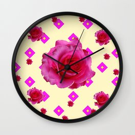 Fuchsia Pink Roses & Patterns On Cream Wall Clock