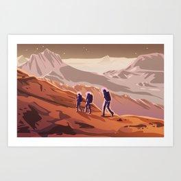 Hiking on Mars Art Print