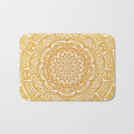 Golden Mustard Yellow Orange Ethnic Mandala Detailed Bath Mat