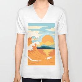 Orange wave Unisex V-Neck