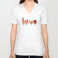meat V-neck T-shirts featuring Meat Love U by Charity Ryan