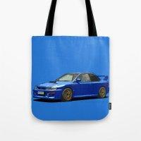 subaru Tote Bags featuring Subaru Impreza 22B STI Type UK Sonic Blue by Digital Car Art
