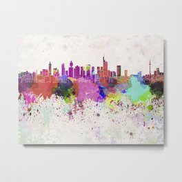 Frankfurt skyline in watercolor background Metal Print