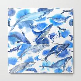 Watercolor whales Metal Print